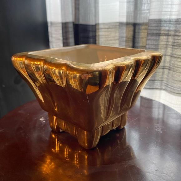 Vintage metallic gold planter